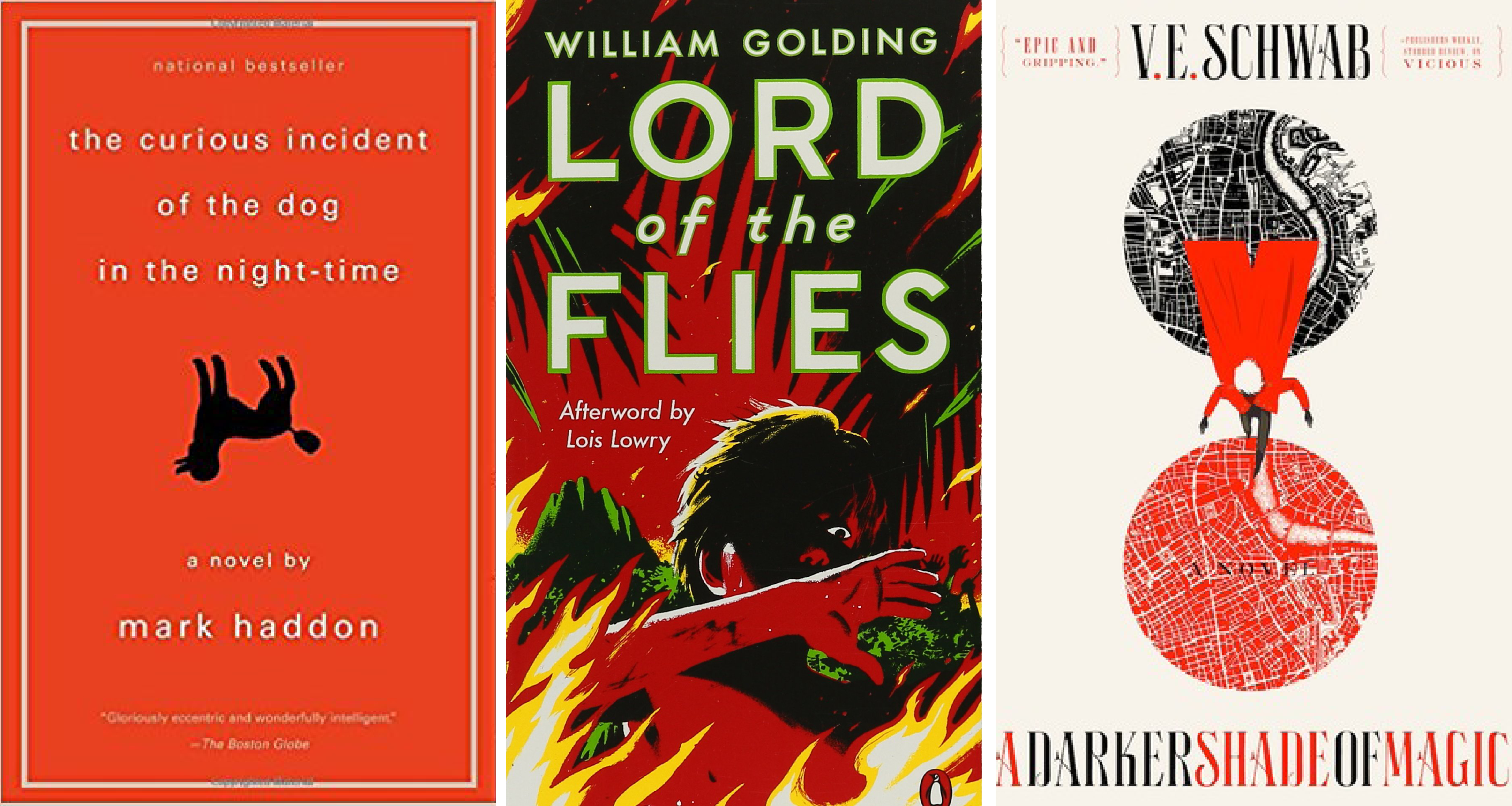 lord of the flies, a darker shade of magic, the curious case of the dog in the night