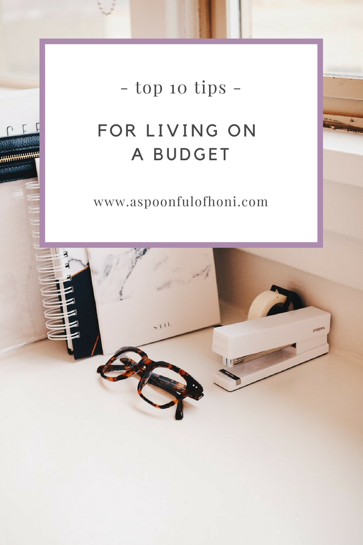 tips for living on a budget pinterest graphic