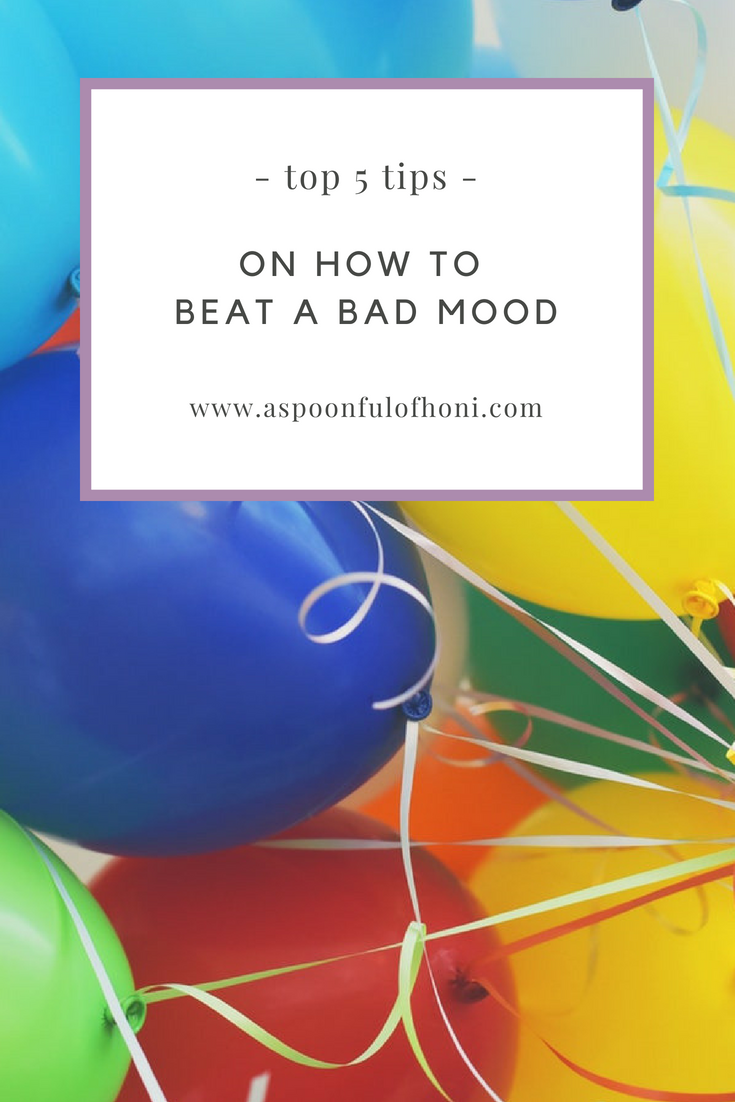 how to beat a bad mood pinterest graphic