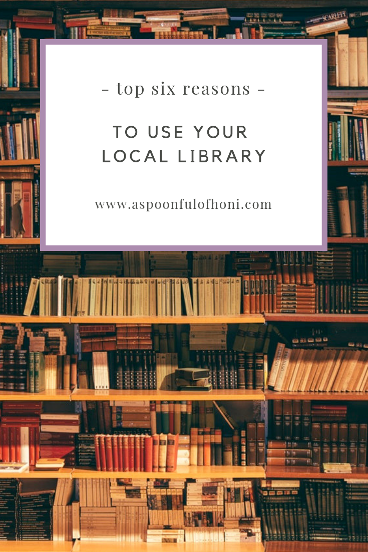 top 6 reasons to use your local library pinterest image