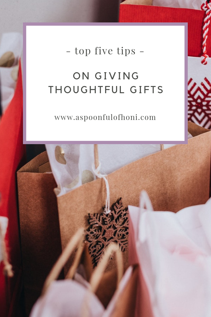 tips on giving thoughtful gifts pinterest graphic