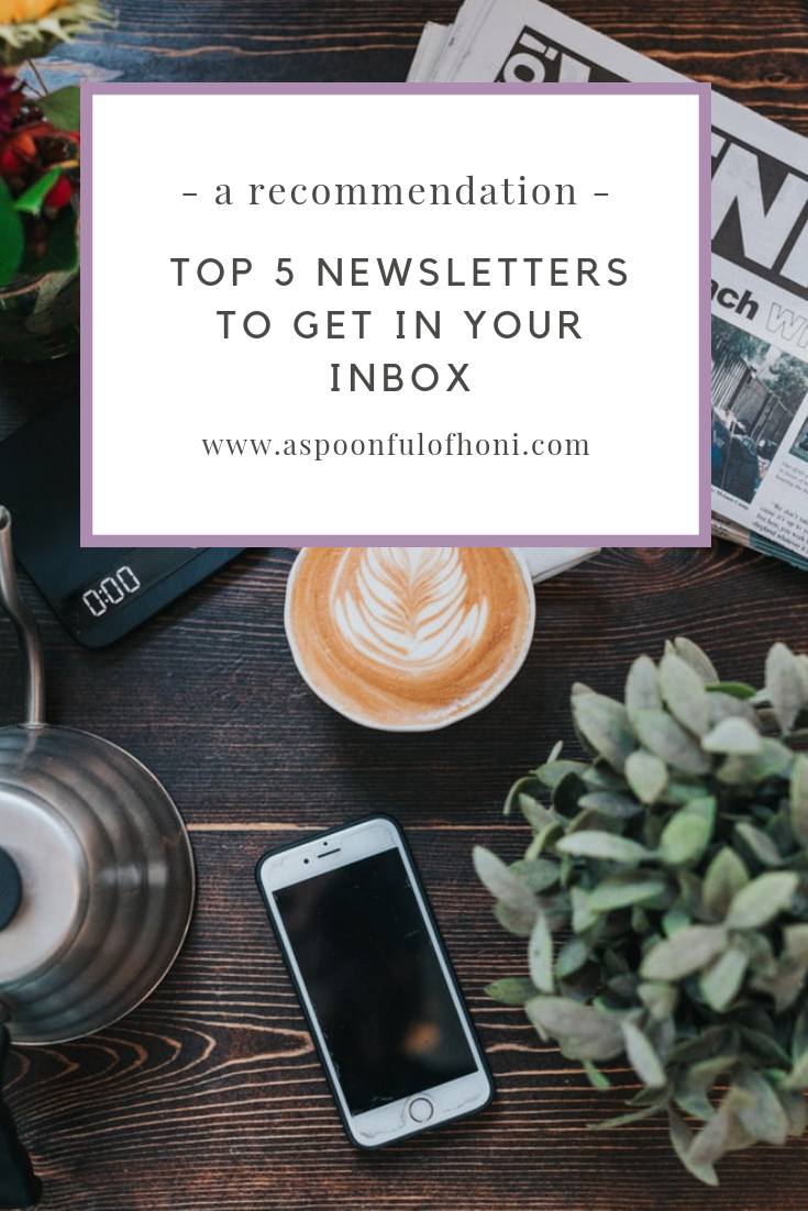 top 5 newsletters to get in your inbox pinterest graphic