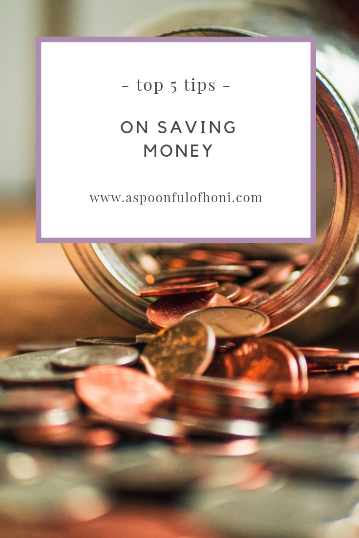 top 5 tips on saving money pinterest graphic