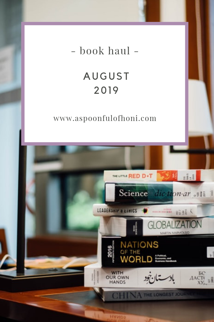 august 2019 book haul pinterest graphic