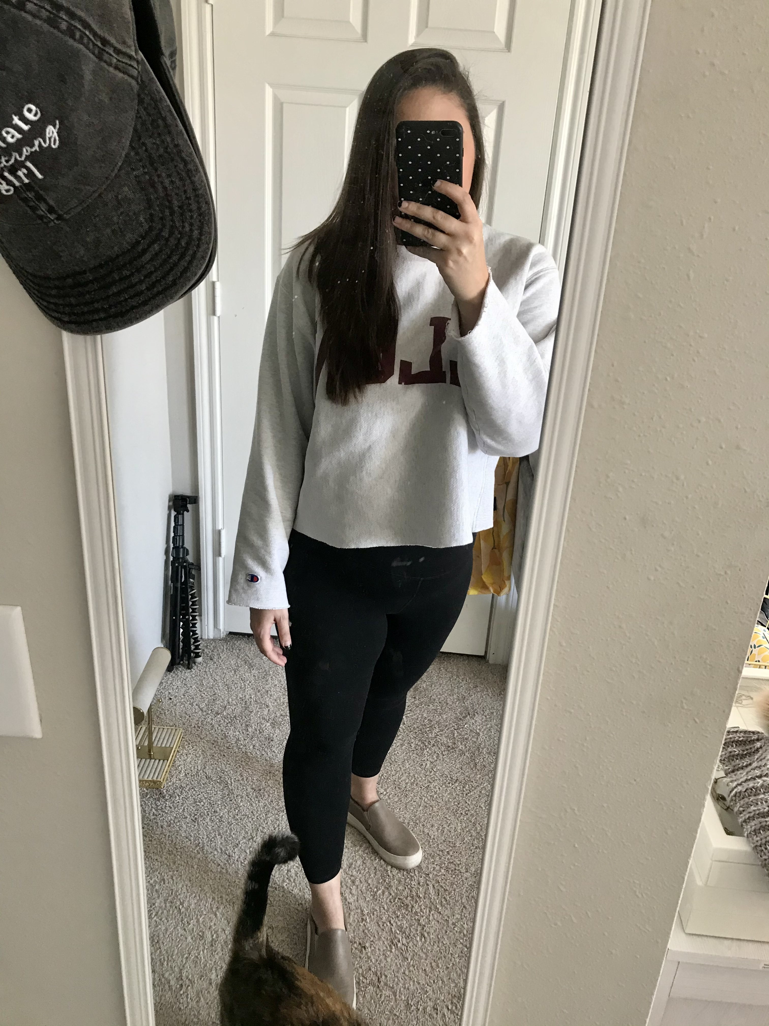 girl in sweatshirt and leggings