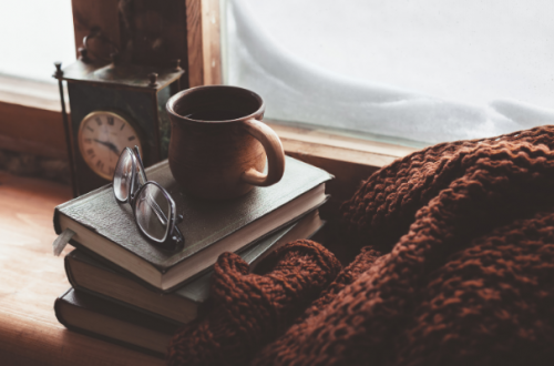 cozy coffee mug and blanket