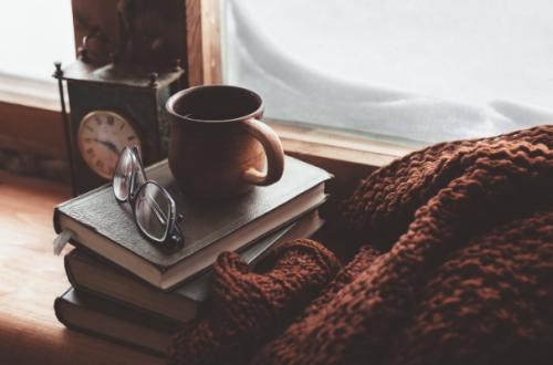 cozy coffee mug and blanket