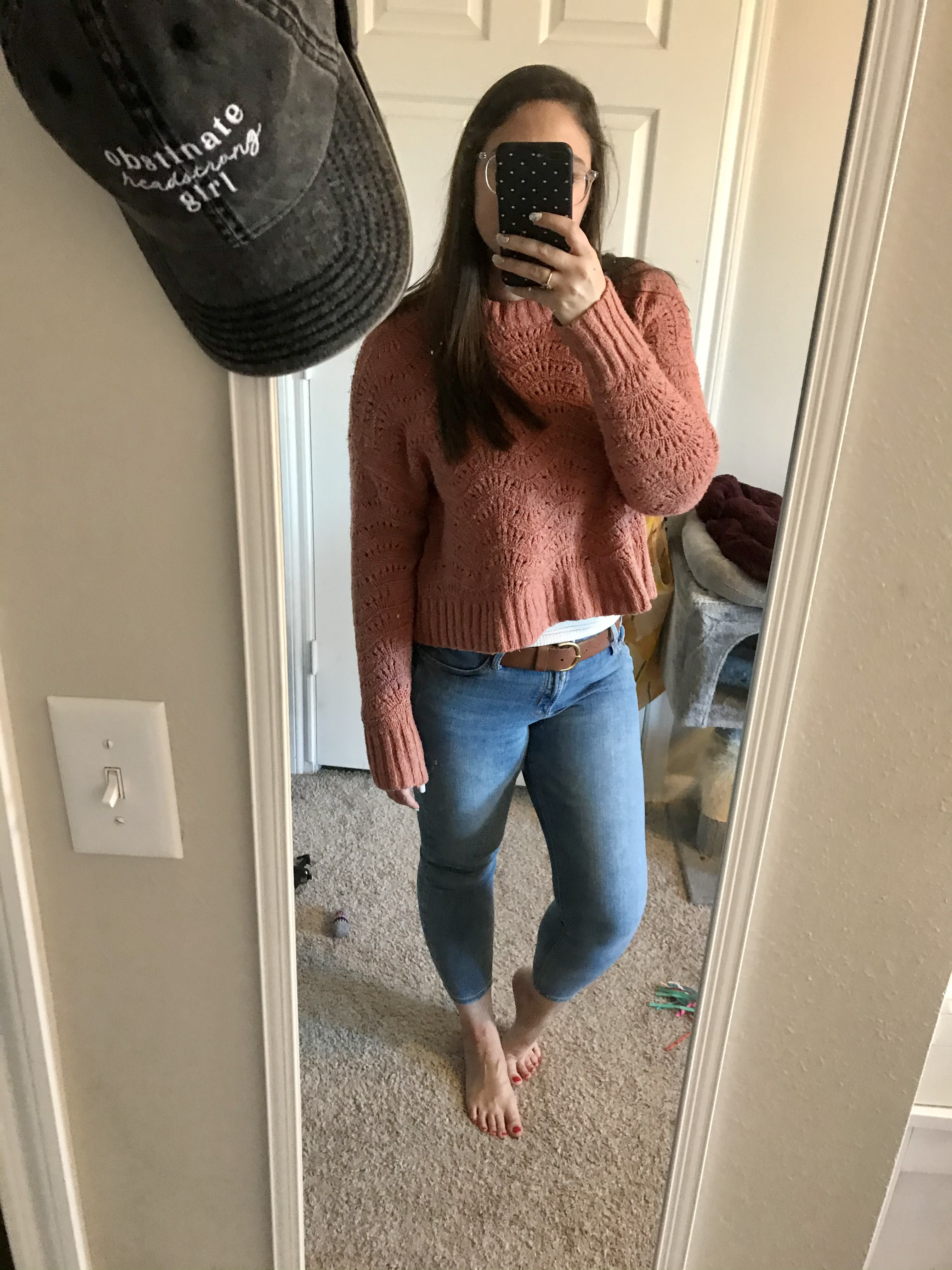 girl in red sweaters and jeans