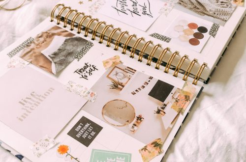 planner with mood board for 2021